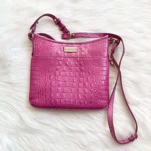 BRAHMIN Jody Pink Croc Crossbody Handbag